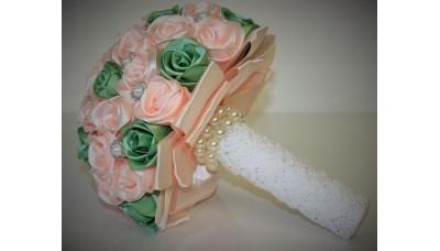 Сватбен букет Розово и зелено