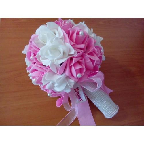 Булчински букет Бяло и Розово