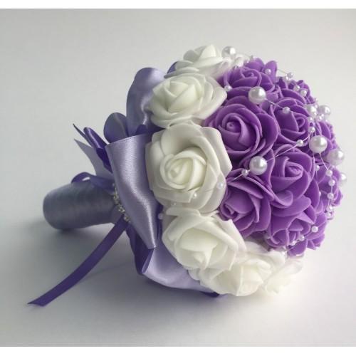 Сватбен букет Бяло и лилаво