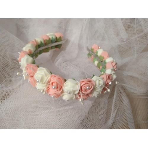 Сватбена диадема бяло и розова праскова