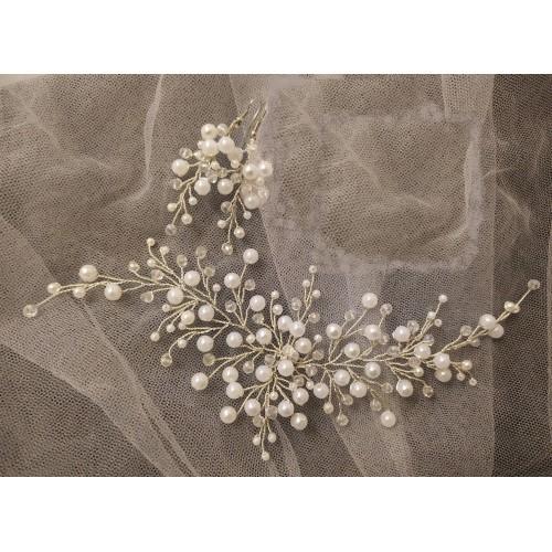 Сватбен аксесоар за коса и сватбени обеци