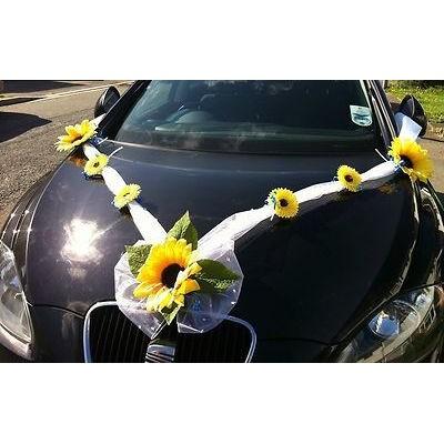 Сватбена украса за кола Слънчогледи