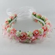 Сватбена диадема бяло и розово