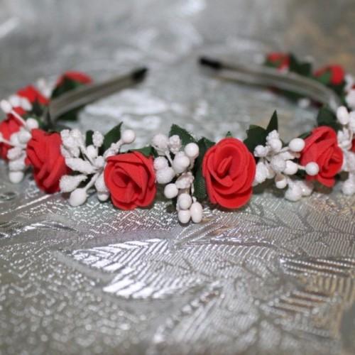 Диадема за коса рози