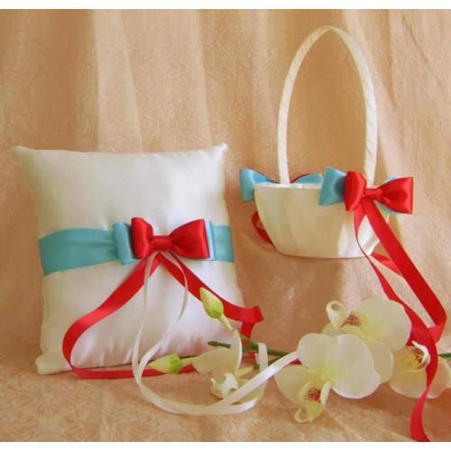 Сватбена кошничка и възглавничка за халки комплект