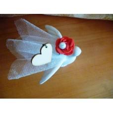 Сватбено подаръче Керамично Гълъбче със сърце и розичка