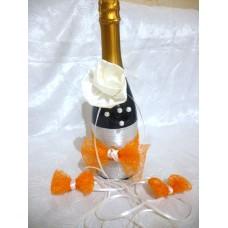 Сватбено шампанско с украса за чаши