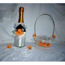 Сватбено Шампанско с украса за чаши и кошничка