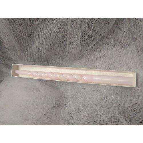 Свещ за кръщене Розова 35 см.