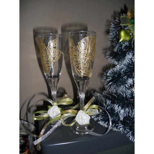 Украса за сватбени чаши / свещи