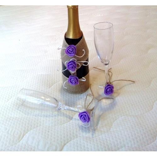 Подвижна украса за сватбено шампанско и чаши