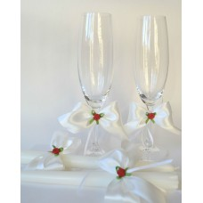 Комплект подвижна украса за шампанско, чаши и свещи